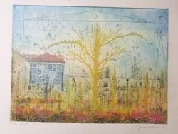 Gross Arnold, Tordai műterem II., korai, élénk, gyönyörű színezésű, hibátlan rézkarca