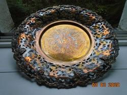 Aranyozott,ezüstözött,cizellált egyiptomi mintákkal bronzveretes szőlő mintás óriás réz falitál