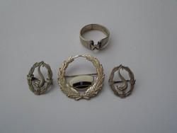 3 db Ezüst nagyméretű babérkoszorú kitüzö  / ajándék ezüst gyűrű ....