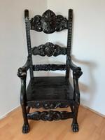 Neoreneszánsz faragott íróasztal szék karosszék- trónszèk