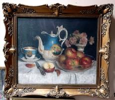 Biedermeier teás készlet és gyönyörű almák ... több mint 100 éves olaj festmény !!!