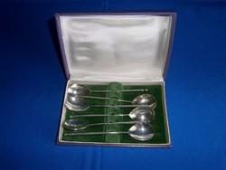 6 db ezüstözött fagylaltos kanál eredeti dobozában