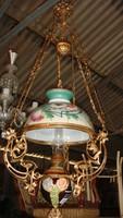 Originál szines búrás petróleumos  majolika lámpa.
