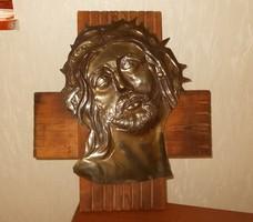 Jézust .ábrázoló réz kép. 40x37 cm