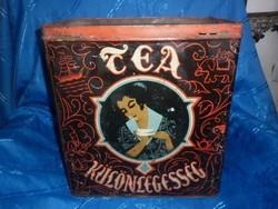 Antik nagyméretű tea fémdoboz