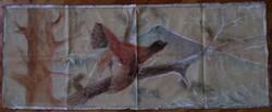 Antik, kézzel festett nagy fajd kakas bársonyos falikárpit festmény 120 x 45 cm