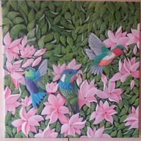 Kolibrik. 40×40 cm akril, vászon kép