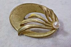Retro aranyozott bross valódi tenyésztett gyönggyel