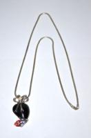 Ezüst nyaklánc vastagabb és szélesebb cső alakú kígyólánc csúszkás csoda szép medállal