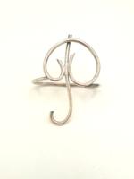 Esküvőre monogrammos ezüst szalvétagyűrű P betű Firenze 32 g