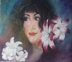A Nő - Liliomokkal című festmény