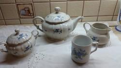 Antik,ibolya mintás, porcelán teás kanna, kiöntő, cukortartó eladó! Zsolnay csészével