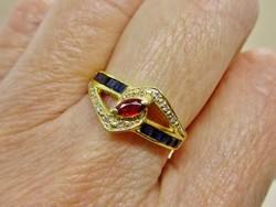 Szépséges antik rubin, zafír és gyémánt  18kt M1arany gyűrű