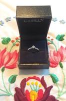 Valódi briliáns gyémánt solitaire fehér arany eljegyzési gyűrű holland gassan