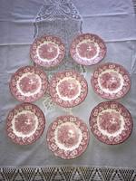 8 db bordó angol sütis tányér süteményes tál porcelán Wedgwood