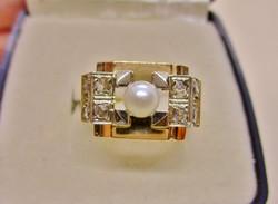 Csodálatos  antik art deco arany gyűrű gyönggyel és gyémánttal
