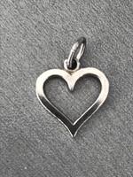 Ezüst szív alakú medál, jelzett 835-ös ezüst