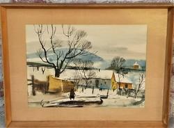 Szalóky Sándor (1921 - 1978) Januári hó c Képcsarnokos festménye EREDETI GARANCIÁVAL !