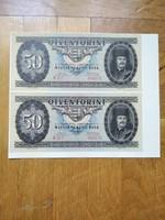 Felvágatlan 50 forint 1947 fantázia bankjegy
