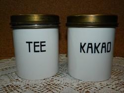 Régi német porcelán felíratos tea és kakao tartó.