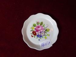 Aquincumi porcelán mini ékszertartó, rózsa mintával, átmérője 7,7  cm.