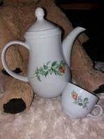 Sárgarózsás Kahla kávéskanna és csésze