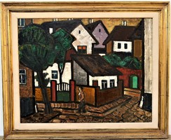 Klie Zoltán (1897 - 1992) Visegrád c Képcsarnokos olajfestménye 75x62cm EREDETI GARANCIÁVAL !
