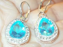 Akvamarin kristály köves 925 ezüst Fülbevaló