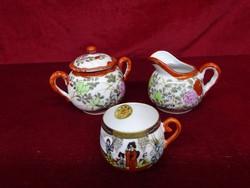 Japán porcelán cukortartó, tejkiöntő, kávéscsésze. Antik, kézzel festett darabok.