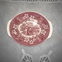 Bordó mintás angol porcelán tál kínáló kínálótál Staffordshire Royal Tudor