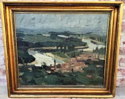 Völgyi Dezső (1926 - 1994) Szentendre látképe c.olajfestménye EREDETI GARANCIÁVAL !