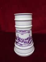 Alföldi porcelán sörös korsó, Hódmezővásárhely felirattal, 20 cm magas.