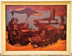 Xantus Gyula (1919 - 1993) Őszi vízpart Balaton Képcsarnokos festménye 86x66cm EREDETI GARANCIÁVAL !