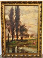 Klimó István (1883 - 1961) Falusi idill c. olajfestménye EREDETI GARANCIÁVAL !