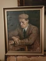 Szabó Lajos (1927-1995), Munkácsy-díjas festőművész portré-festménye, kb.45x55+keret, ingyenposta!