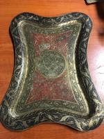 Antik perzsa mintás réz tálca