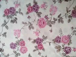 Rózsaszín rózsás új anyag 100% pamut, extra széles 280x180  cm-es