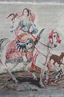 Antik kárpit nemes hölgy lovon, jelezve Lemberg 1847.