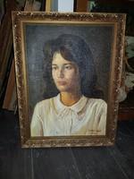 Szabó Lajos (1927-1995), Munkácsy-díjas festőművész portré-festménye, kb.45x65+keret, ingyenposta!