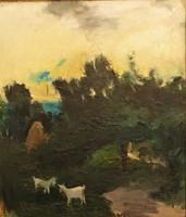 Miskolczi László (1923 - 1988) Este 1954 c.Képcsarnokos olajfestmény 85x75cm EREDETI GARANCIÁVAL