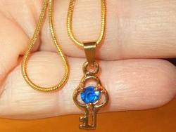 """London Kék Topáz köves """" Szívek Kulcsa """" 925 Ezüst - 18k Arany tömör erős Nyaklánc"""