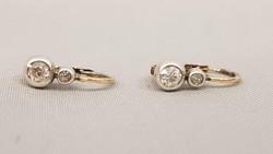 Antik arany-ezüst Buton Fülbevaló Gyémántokkal