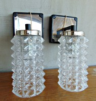 Retro vastag üvegburás fali lámpa párban , falikar