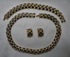 D'orlan Susan Caplan angol ékszer garnitúra,fekete zománc- swarovski kristály, 22 karátos aranyozás