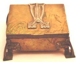 Art deco kártya doboz réz és ón díszekkel
