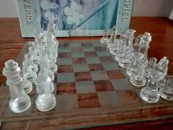 Üveg sakk készlet- hiánytalan