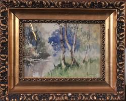 Neogrády Antal (1861-1942): Erdőbelső, akvarell
