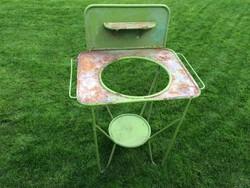 Régi fém polcos mosdóállvány vintage mosdó lavór tartó állvány