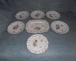 Antik 19. századi gyönyörű cseh porcelán herendi mintás formaszámos szecessziós étkészlet