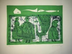 Würtz Ádám linómetszete: Ballad (azaz Ballada), zöldes változatban, 92/100